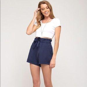 Kate Paper Bag Stripe Shorts